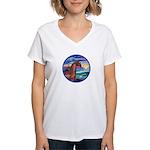 Wave/Horse( Ar-Brn) Women's V-Neck T-Shirt