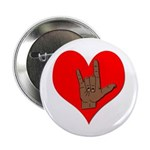 Sign Language I Love You ILY Sign Button 2.25