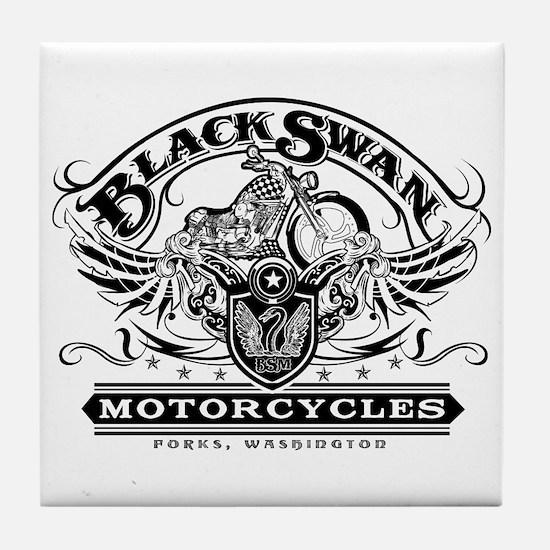 Black Swan Motorcycles Tile Coaster