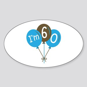60th Birthday Balloon Oval Sticker