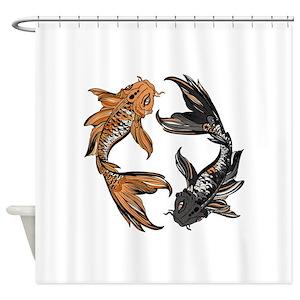 Koi Fish Pond Shower Curtains