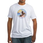 Clouds/Horse (Ar-Brn) Fitted T-Shirt