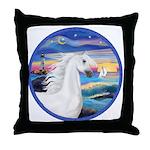 Wave/Horse (Ar-W) Throw Pillow