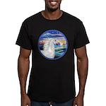 Wave/Horse (Ar-W) Men's Fitted T-Shirt (dark)