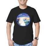 Wave/Horse (Ar-W) Men's Fitted T-Shirt (dark)