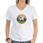 Mt Country/Horse (Ar-W) Women's V-Neck T-Shirt