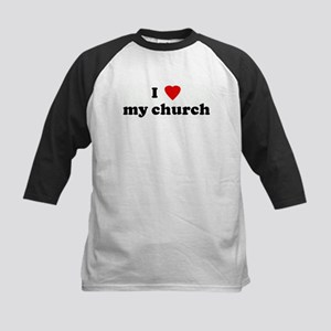 I Love my church Kids Baseball Jersey