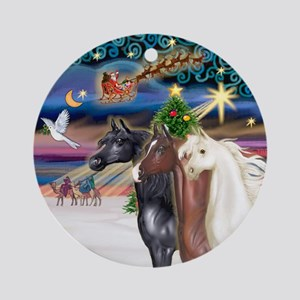 XmasMagic-3 Arabian Horses Ornament (Round)