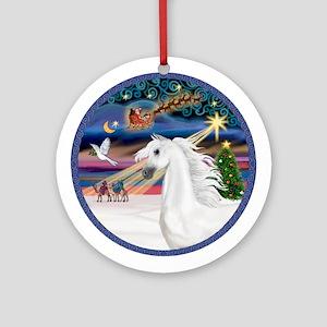 XmasMagic-White Arabian Horse Ornament (Round)