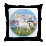 Angel/Horse (Ar-W) Throw Pillow