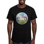 Angel/Horse (Ar-W) Men's Fitted T-Shirt (dark)