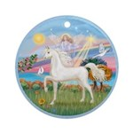 Angel/Horse (Ar-W) Ornament (Round)