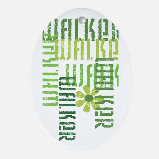 Green Fitness Walker Oval Ornament