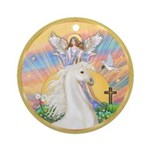 Blessings/Horse (Ar-W) Ornament (Round)
