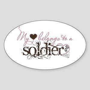 My Heart Belongs to a Soldier Oval Sticker