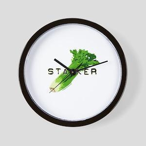 celery stalker, dieter/vegetarian/vegan Wall Clock
