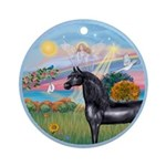Angel/Horse (Ar-Blk) Ornament (Round)