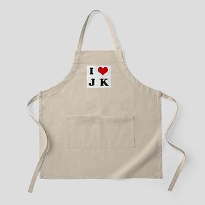 I Love J K BBQ Apron