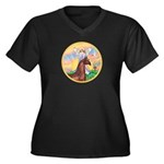 Blessings/Horse (Ar-Brn) Women's Plus Size V-Neck