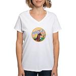 Blessings/Horse (Ar-Brn) Women's V-Neck T-Shirt
