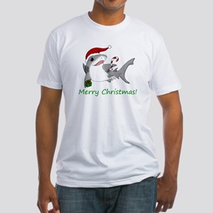 Christmas Shark Fitted T-Shirt