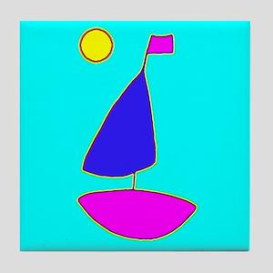 Sailing Sailboat Tile Coaster / Trivet (Blues)