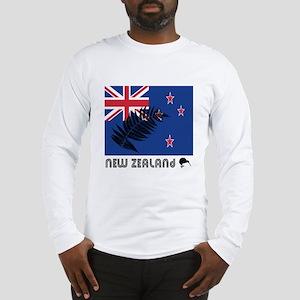 New Zealand Flag Silver Fern Long Sleeve T-Shirt