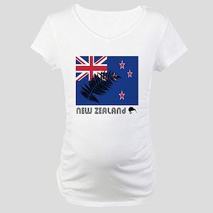 New Zealand Flag Silver Fern Maternity T-Shirt