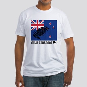 New Zealand Flag Silver Fern Fitted T-Shirt