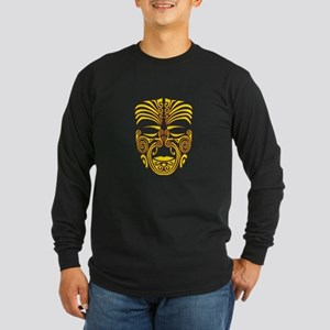 yellow moko Long Sleeve Dark T-Shirt
