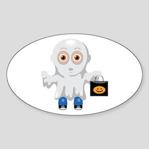 Kid Halloween Ghost Oval Sticker
