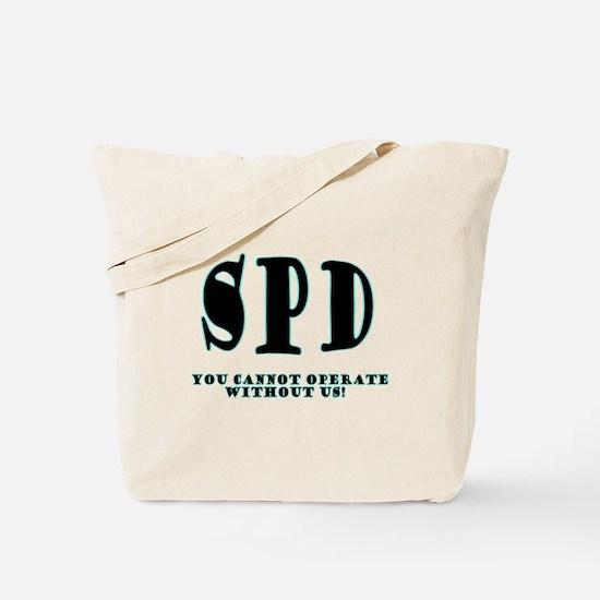 SPD 3 back/blue Tote Bag