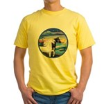 Wave/2 Horses-(Ar-Blk&W) Yellow T-Shirt