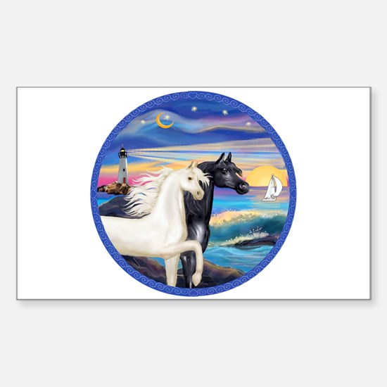 Wave/2 Horses-(Ar-Blk&W) Rectangle Decal