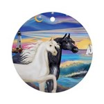 Wave/2 Horses-(Ar-Blk&W) Ornament (Round)