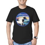 Wave/2 Horses-(Ar-Blk&W) Men's Fitted T-Shirt (dar
