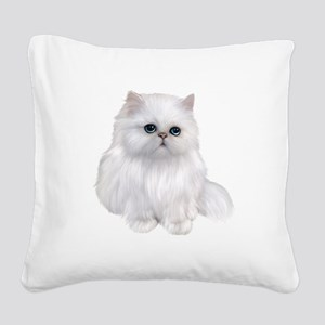 white Persian Cat Square Canvas Pillow