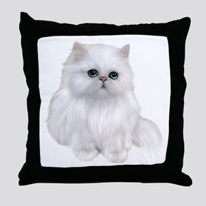 white Persian Cat Throw Pillow
