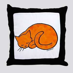 Orange Sleeping Cat Throw Pillow