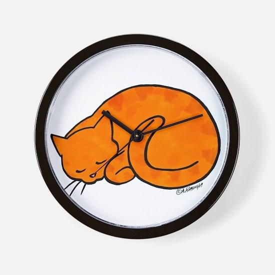 Orange Sleeping Cat Wall Clock