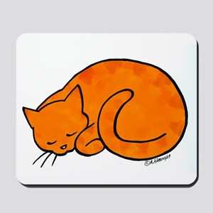 Orange Sleeping Cat Mousepad