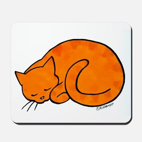 Orange Sleeping Cat Mousepad