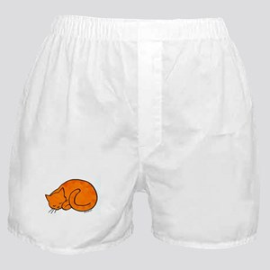 Orange Sleeping Cat Boxer Shorts