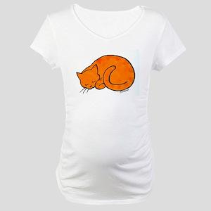 Orange Sleeping Cat Maternity T-Shirt