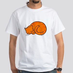 Orange Sleeping Cat White T-Shirt