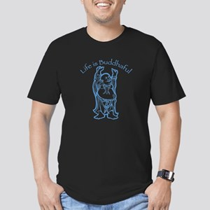 Life is Buddhaful Men's Fitted T-Shirt (dark)