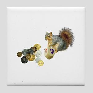 Dreidel Squirrel Tile Coaster