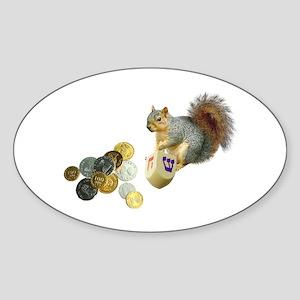 Dreidel Squirrel Oval Sticker