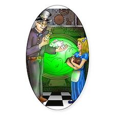 SteamPunk Alice Version 1 Oval Sticker