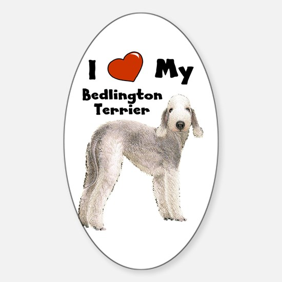 I Love My Bedlington Terrier Rectangle Decal